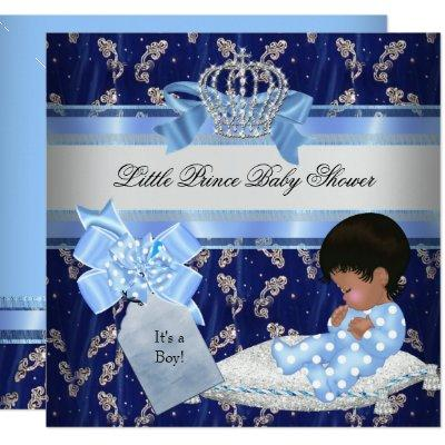 Ethnic Baby Shower Boy Blue Little Prince Crown Invitations
