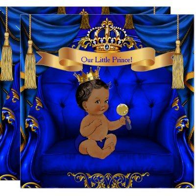 Ethnic Baby Shower Boy Prince Royal Blue Gold Invitation