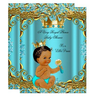 Ethnic Baby Shower Prince Gold Teal Aqua Invitation