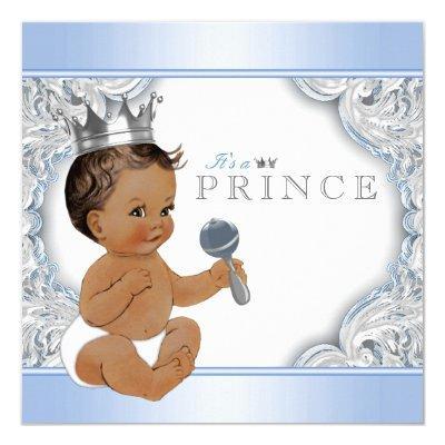 Ethnic Boy Baby Blue Silver Prince Invitations