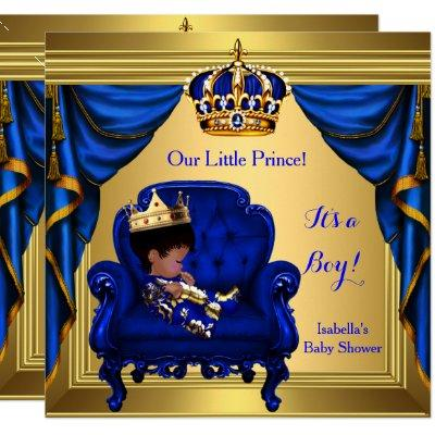 Ethnic Boy Baby Shower Prince Royal Blue Gold Invitations