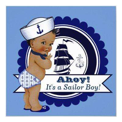 Ethnic Boy Blue Nautical Baby Shower Invitations