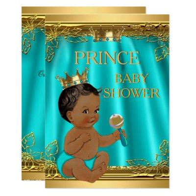 Ethnic Boy Prince Baby Shower Aqua Teal Invitations