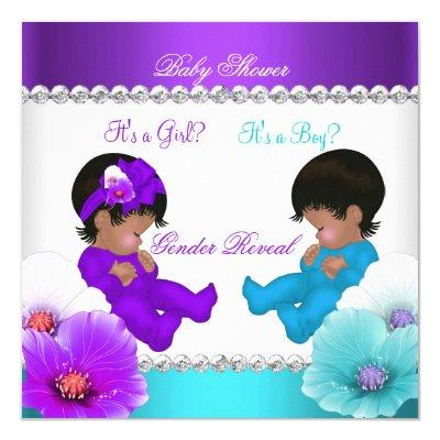 Ethnic Gender Reveal Baby Shower Purple Teal Blue Invitations