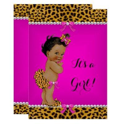Ethnic Girl Baby Shower Leopard Hot Pink Invitations