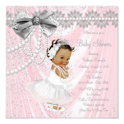 Ethnic Girl Pink Gray Satin Pearl