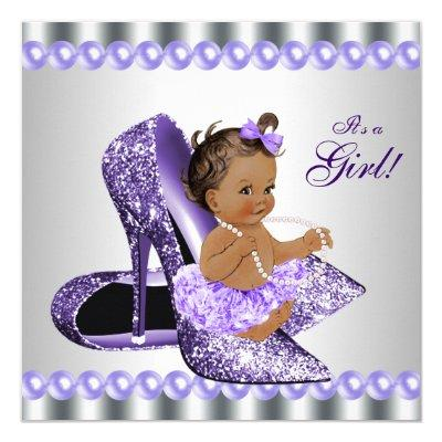 Ethnic Girl Purple Gray High Heel Shoe Baby Shower Invitations