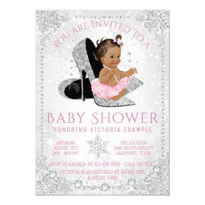 Ethnic Girl Winter Wonderland Baby Shower Invitation