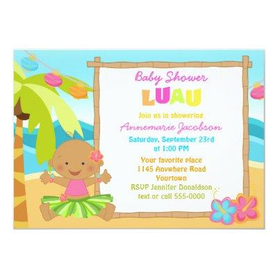 Girls Lua Baby Shower Invitations