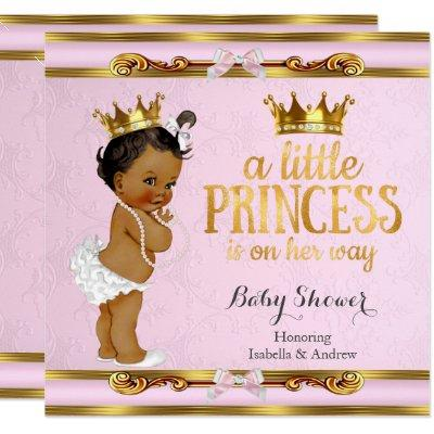 Ethnic Little Princess Baby Shower Pink Gold Invitations