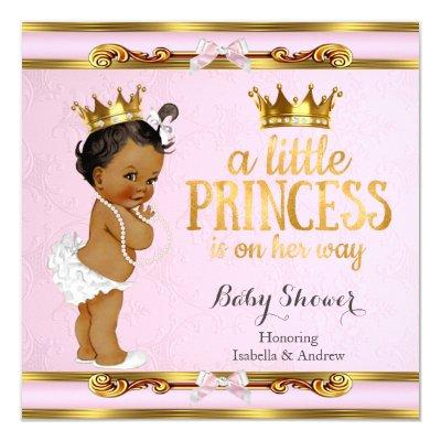 Ethnic Little Princess Pink Gold Invitations