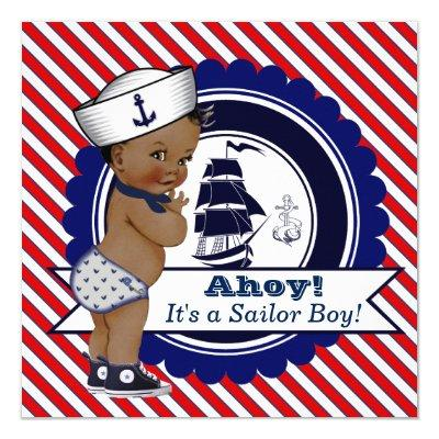 Ethnic Little Sailor Nautical Invitations