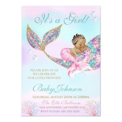 Ethnic Mermaid Baby SHower Glitter Tail Invitation