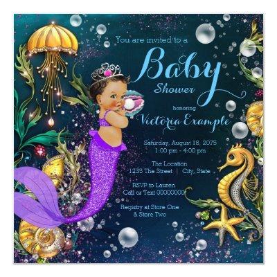 Ethnic Mermaid Baby Shower Invitation