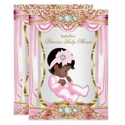 Ethnic Pretty Princess Baby Shower Pink Silk Gold Invitations