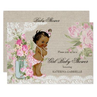 Ethnic Pretty Shabby Chic Lace Floral Baby Shower Invitation