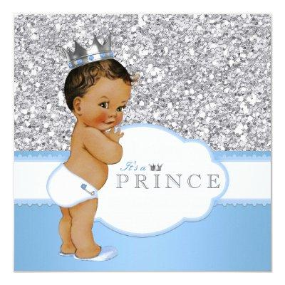 Ethnic Prince Baby Shower Blue and Silver Invitations