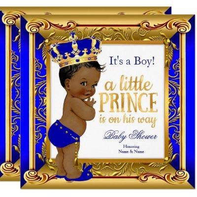 Ethnic Prince Baby Shower Blue Faux Gold Invitation