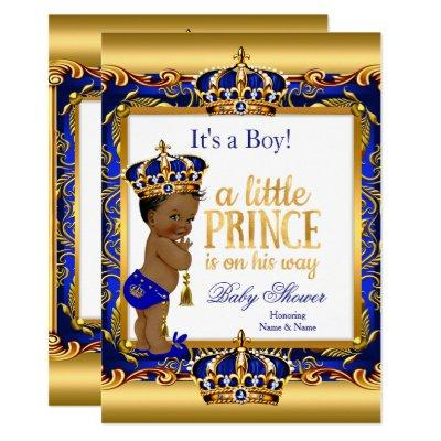 Ethnic Prince Baby Shower Blue Ornate Gold Invitations