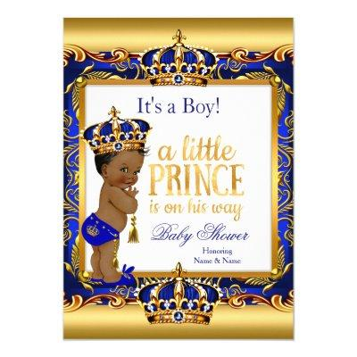 Ethnic Prince Blue Ornate Gold Invitations