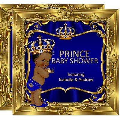 Ethnic Prince Baby Shower Boy Blue Ornate Gold Invitations