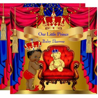 Ethnic Prince Baby Shower Gold Bear Red Blue Invitations