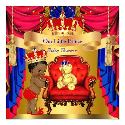 Ethnic Prince Gold Bear Red Blue Invitations