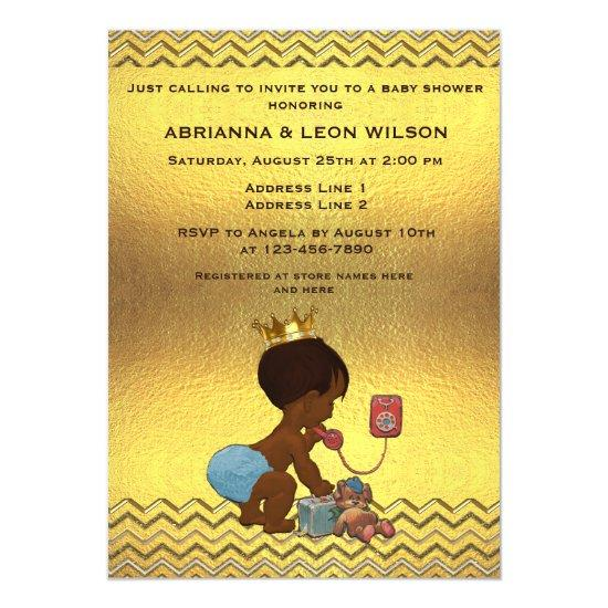 Ethnic prince on phone gold chevrons baby shower magnetic ethnic prince on phone gold chevrons baby shower magnetic invitations filmwisefo