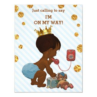 Ethnic Prince On Phone Stripes Dots Baby Shower Invitations