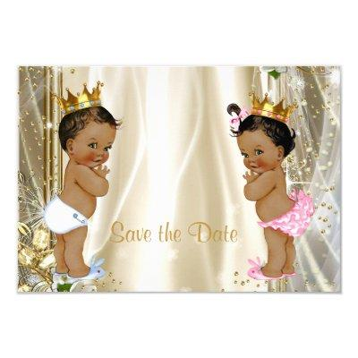 Ethnic Prince Princess Baby Shower Save The Date Invitations