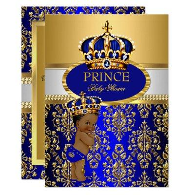 Ethnic Prince Royal Blue Crown Baby Shower Invitations