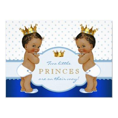 Ethnic Prince Twin Boy Baby Shower Invitations