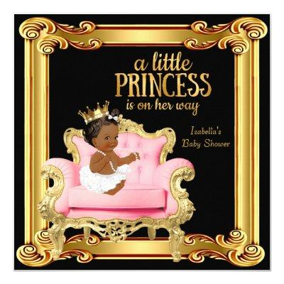 princess baby shower pink gold baby shower invitations | baby, Baby shower invitations