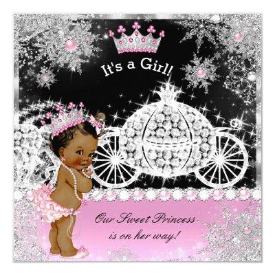 Ethnic Princess Baby Shower Carriage Pink Black Invitations