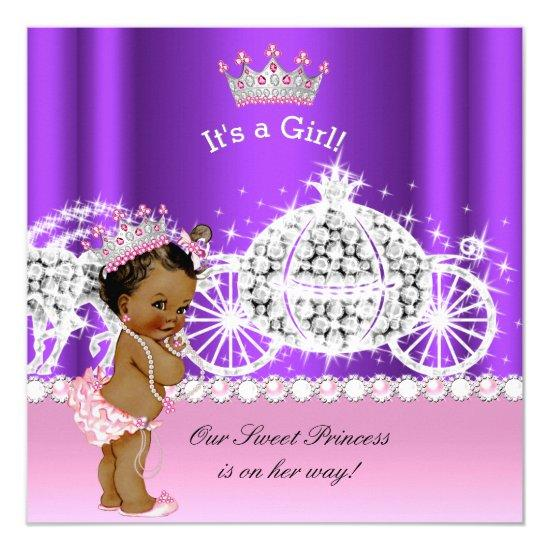 ethnic princess baby shower carriage pink purple invitations