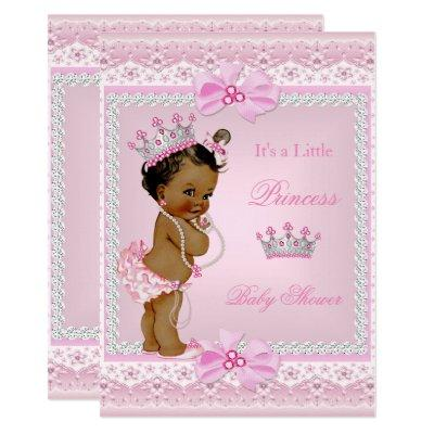 Ethnic Princess Baby Shower Girl Pink Pearls Tiara Invitations