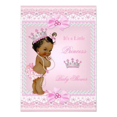 Ethnic Princess Baby Shower Girl Pink Pearls Tiara Invitations