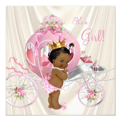 Ethnic Princess Baby Shower Pink Ivory Pearl Invitation