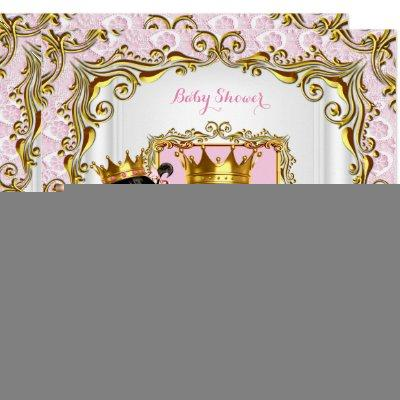 Ethnic Princess Baby Shower Pink Lace White Gold Invitations