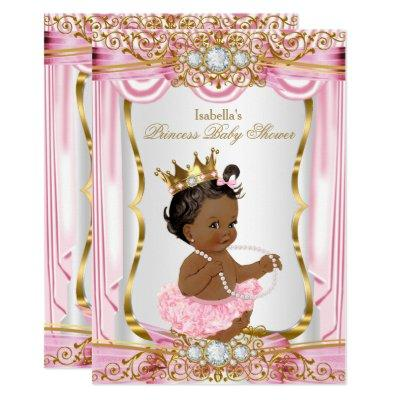 Ethnic Princess Baby Shower Pink Silk Gold Invitations