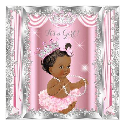 Ethnic Princess Baby Shower Pink Silver Ballerina Invitations