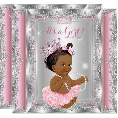 Ethnic Princess Baby Shower Pink Silver Tutu Invitations