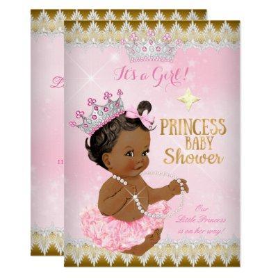 Vintage princess baby shower invitations baby shower invitations ethnic princess baby shower pink tutu gold invitations filmwisefo