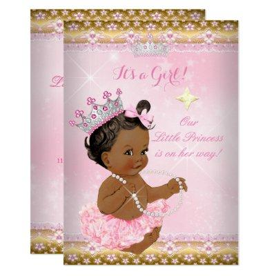 Ethnic Princess Pink Tutu Gold Tiara A Invitations