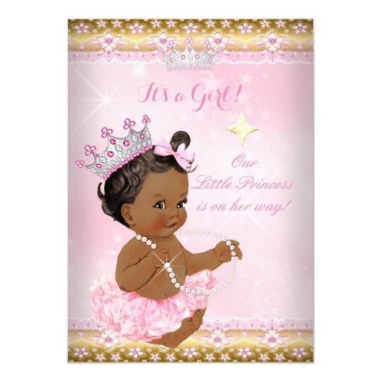 Ethnic Princess Baby Shower Pink Tutu Gold Tiara A Invitations