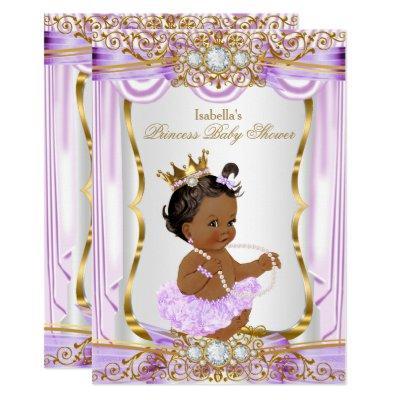 Ethnic Princess Baby Shower Purple Silk Gold Invitations