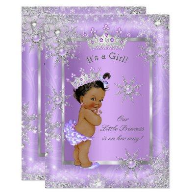 Ethnic Princess Baby Shower Purple Wonderland Invitation