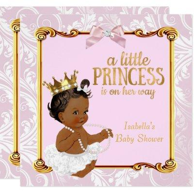 Ethnic Princess Baby Shower White Pink Gold Invitation