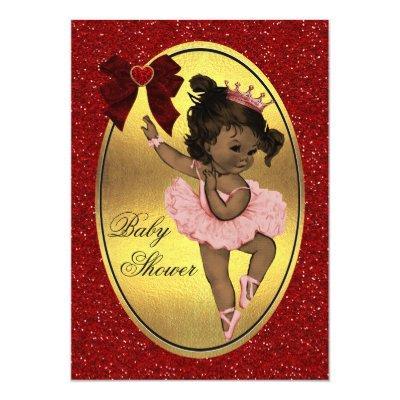Ethnic Princess Ballerina Faux Gold Foil Glitter Invitations