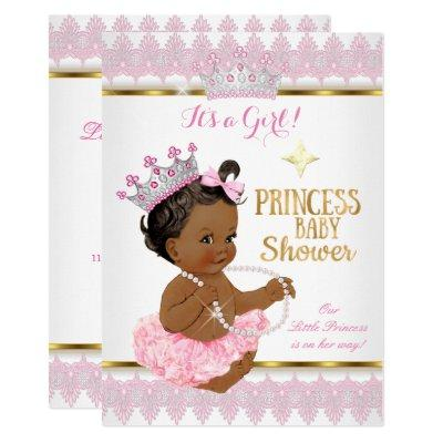 Ethnic Princess Girl Baby Shower Pink Gold Tutu Invitation